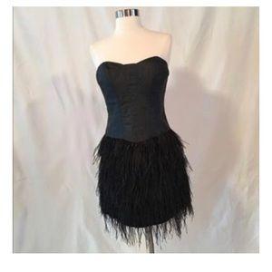 Betsey Johnson Black feather corset mini dress